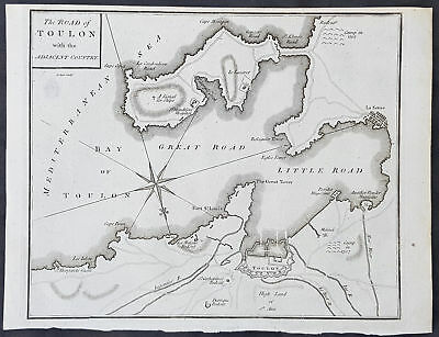 1781 John Cary Original Antique Map of the Battle of Toulon in 1707