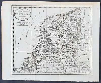 1770 Thomas Kitchin Original Antique Map of The Seven United Provinces, Holland