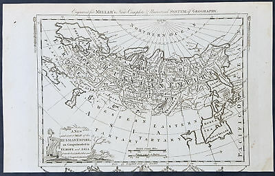 1782 Thomas Kitchin Original Antique Map of The Russian Empire Poland to Japan