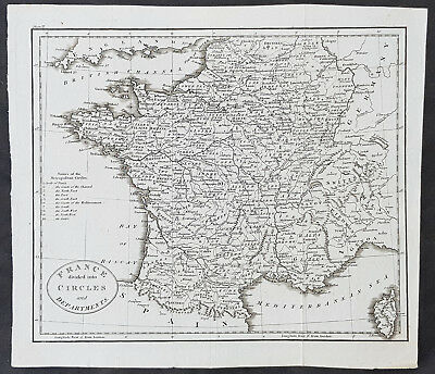 1770 Thomas Kitchin Original Antique Map of France Divided in Departments