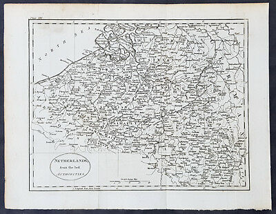 1770 Thomas Kitchin Original Antique Map of The Netherlands, Luxemburg