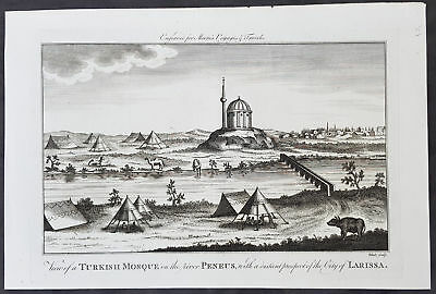 1778 Moore Antique Print of an Ottoman Mosque on Pineios River in Larissa Greece