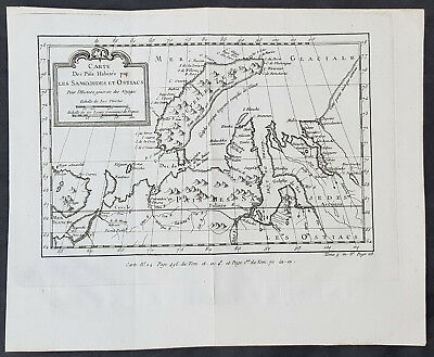 1760 Nicolas Bellin Original Antique Map of Novaya Zemlya & Barent Arctic Russia