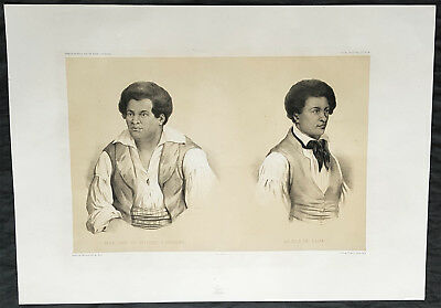 1842 D Urville & Marescot Antique Print of The Chief & Son of Upolu Island Samoa