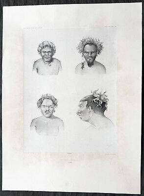 1842 D Urville & Goupil Antique Print of Men of Santa Isabel Isle, Solomon Isle.