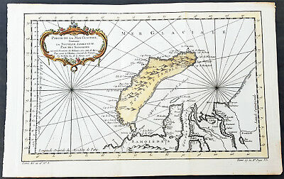 1758 Nicolas Bellin Original Antique Map of Novaya Zemlya Island, Russia
