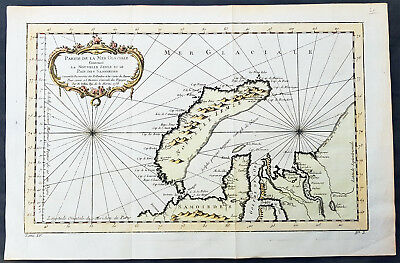 1758 Nicolas Bellin Original Antique Map The Russian Island of Novaya Zemlya