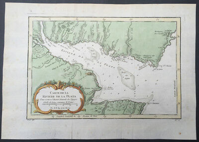 1757 Nicolas Bellin Antique Map of Río de la Plata or River Plate, Argentina