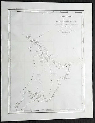 1827 Dumont D Urville Large Antique Map of North & South Islands of New Zealand
