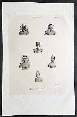 1836 D Urville & Sainson Antique Print Men & Women of Vanikoro Isle, Solomon Is.