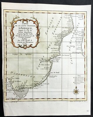 1740 Bellin Antique Map Africa South East from The Cape to Tanzania - Hottentots