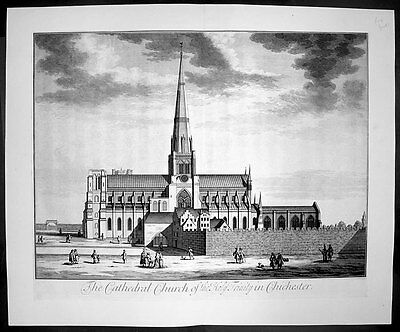 1724 Kip Large Antique Birds Eye View Holy Trinity Cathedral Chichester, England
