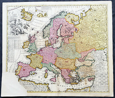 1700 Pieter Schenk Large Antique Map of Europe, Iceland