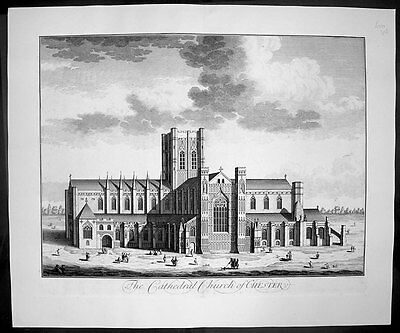 1724 Kip Large Antique Original Birds Eye View of Chester Cathedral, England