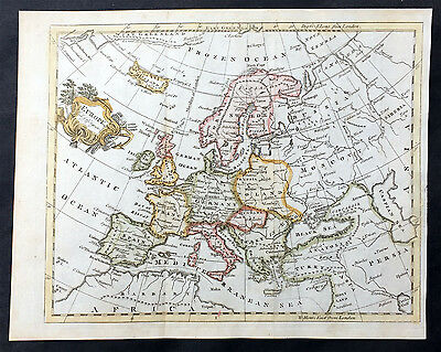 1754 Thomas Jefferys Old, Antique Map of Europe - Large Poland
