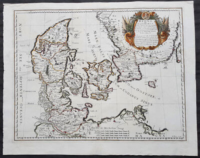 1677 De Rossi Large Original Antique Map of Denmark & Sweden, Schleswig Holstein