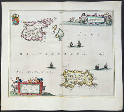 1659 J Blaeu Original Antique Map of Jersey and Guernsey - The Channel Islands
