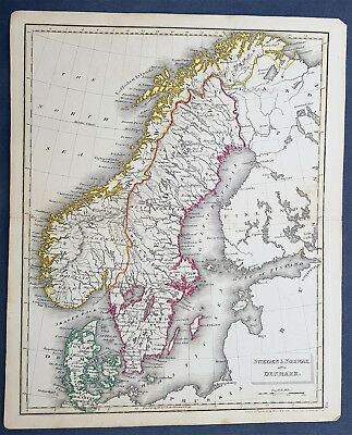 1825 John Russell Antique Map of Scandinavia - Sweden, Norway & Denmark