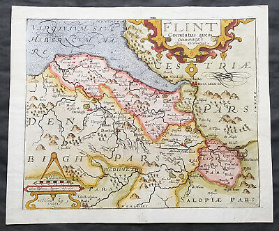 1610 Johannes Kip Antique Map of the County of Flintshire, Wales, Great Britain