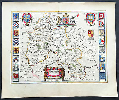 1647 Joan Blaeu Original Antique Map of Oxford Shire, England - w/ Stonehenge