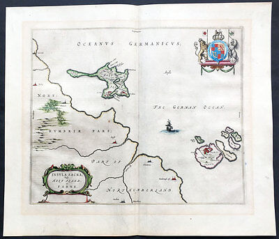 1647 Blaeu Original Antique Map Lindisfarne & Holy Islands UK Early Christianity