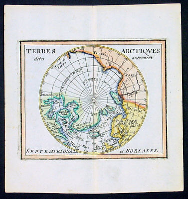 1682 Du Val Original Antique Map of the North Pole North America, Europe, Russia