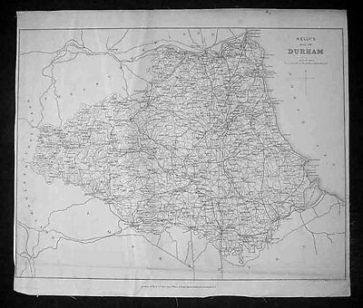 1875 Kelly & co. Antique Map of The English County of Durham - Kelly's Directory