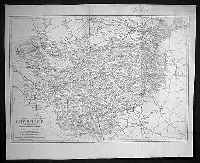 1875 Kelly & co. Antique Map The English County of Cheshire - Kelly's Directory