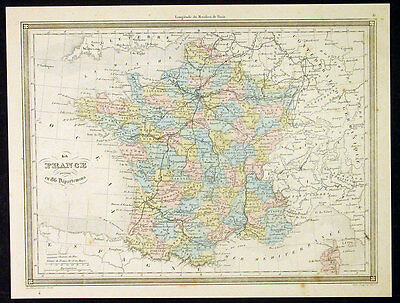 1847 Vuillemin Antique Map of France in 86 Departments