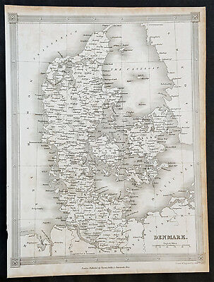 1845 Alexander Findlay Original Antique Map of Denmark - Zealand