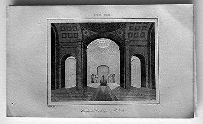 1837 La Rochelle Antique Print Inside the Catholic Cathedral Baltimore, Maryland