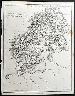 1840 Virtue Old, Antique Map of Norway, Sweden, Denmark & Finland
