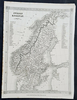 1845 Alexander Findlay Original Antique Map of Sweden & Norway