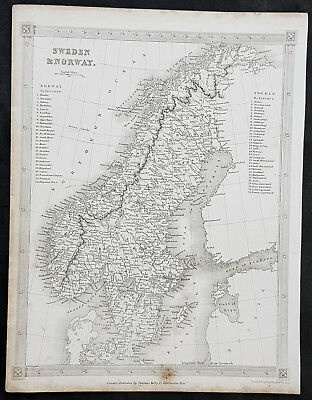1845 Alexander Findlay Original Antique Map of Scandinavia - Norway & Sweden