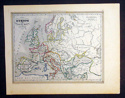 1847 Vuillemin Antique Map of Europe during the invasions of the Barbarians