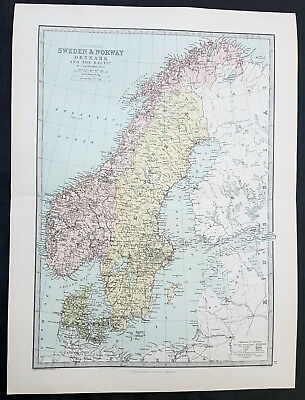 1870 George Philip Original Antique Map of Sweden, Norway, Denmark & Baltics