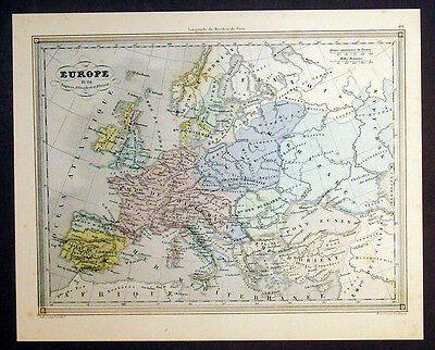 1847 Vuillemin Antique Map of Europe in 814 in the Reign of Charlemagne