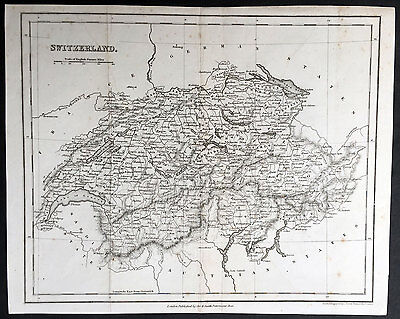 1835 John Dower Antique and Old Map of Switzerland