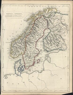 1855 George Virtue Antique Map of Scandinavia Norway, Sweden, Denmark & Finland
