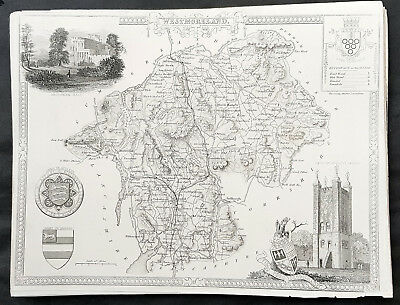 1836 Thomas Moule Original Antique Map of Westmoreland English County