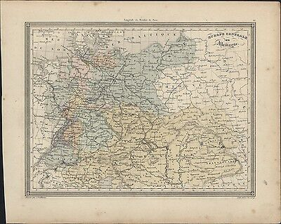 1847 Vuillemin Antique Map of Central Europe - Hungary, Poland Austria & Germany