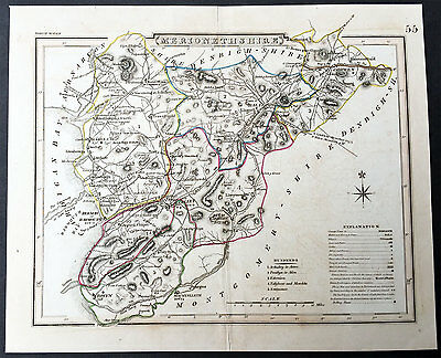 1830 Roper Antique Map of The Welsh County of Merioneth