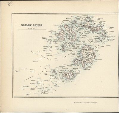 1830 Fullarton Antique Map of The Scilly Islands of Cornwall, England