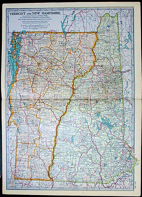 1902 Century Antique Map of The US States of Vermont & New Hampshire