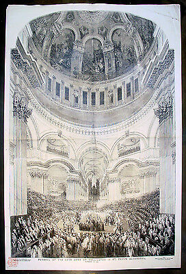 1852 ILN Large Antique Print The Funeral Duke of Wellington, St Pauls Cathedral