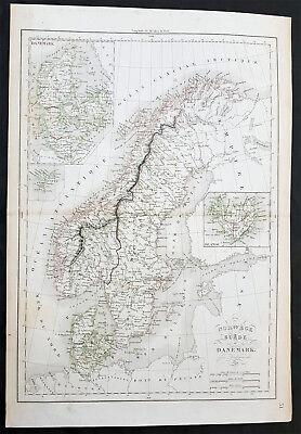 1838 Delamarche Original Antique Map of Sweden, Norway, Denmark & Iceland