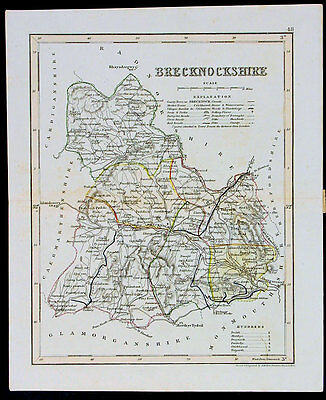1846 Archer & Dugdale Antique Map of the Welsh County of Brecknock