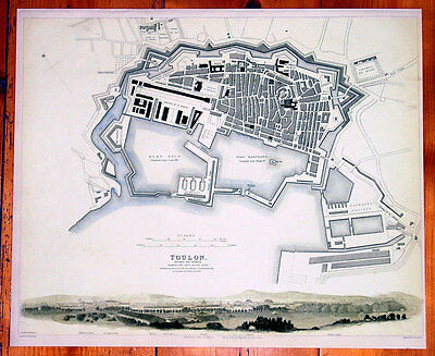 1840 SDUK Antique Map, Plan & View of The City of Toulon, France
