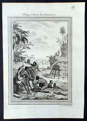 1755 Prevost Antique Print of the Village & Huts of the Khoikhoi, South Africa