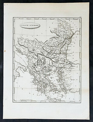 1799 Jean Nicolas Buache Original Antique Map Turkey in Europe Greece to Austria
